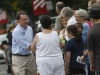 Sen. Creigh Deeds shakes hands with people Monday during the annual Labor Day parade in Buena Vista.